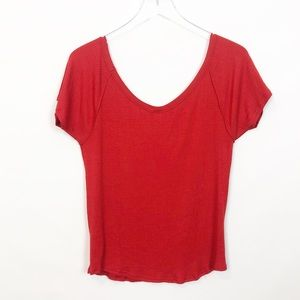 Free People Red Ribbed Tank Top Large